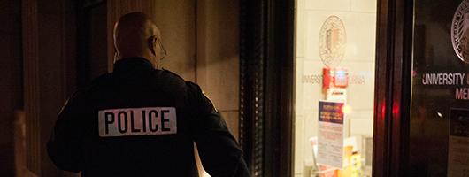 UC Merced police officer investigating scene